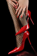 Stockings Prints - Woman Wearing Red Sexy High Heels Print by Oleksiy Maksymenko