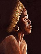 African-americans Painting Posters - Woman Wearing Scarf Poster by Dorothy Riley