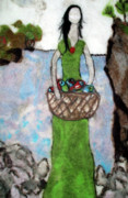Basket Tapestries - Textiles Posters - Woman With A Basket Of Fish Poster by Jill Dodd