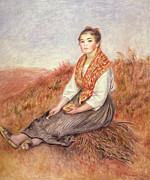 Sitting On Hill Metal Prints - Woman with a Bundle of Firewood Metal Print by Pierre Auguste Renoir