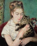 Cuddling Framed Prints - Woman with a Cat Framed Print by Pierre Auguste Renoir