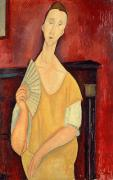 Portrait With Dress Posters - Woman with a Fan Poster by Amedeo Modigliani