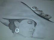 Earrings Drawings - Woman with a Hat by Katerina Novotna