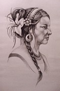 Exotic Drawings - Woman with a Lily Headdress by Renee Ciampi