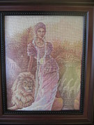 Picture Tapestries - Textiles Originals - Woman With A Lion by Veselina Simeonova
