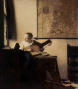 Woman Playing A Lute Prints - Woman with a Lute Print by Jan Vermeer
