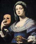 Portrait With Dress Posters - Woman with a Mask Poster by Lorenzo Lippi