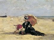 Beach Scenes Posters - Woman with a Parasol on the Beach Poster by Eugene Louis Boudin