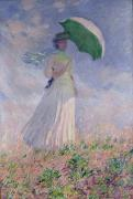 Windy Framed Prints - Woman with a Parasol turned to the Right Framed Print by Claude Monet
