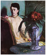 Portrait Of A Woman Posters - Woman with a Porcelain Vase Poster by Edgar Degas