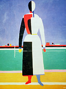 Halved Framed Prints - Woman with a Rake Framed Print by Kazimir Severinovich Malevich