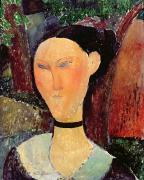 Visage Framed Prints - Woman with a Velvet Neckband Framed Print by Amedeo Modigliani