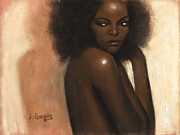 Fine American Art Pastels Posters - Woman with Afro Poster by L Cooper