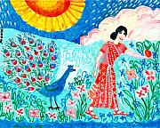 Yellow Ceramics Prints - Woman with Apple and Peacock Print by Sushila Burgess