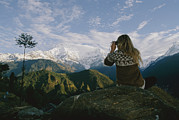 Scenic Overlooks Prints - Woman With Binoculars Print by Skip Brown