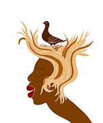 Graphic Drawings Posters - Woman with bird Poster by Frank Tschakert