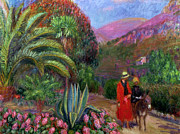 Mountain Road Painting Posters - Woman with Child on a Donkey Poster by William James Glackens