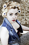 Denim Posters - Woman With Curlers Poster by Joana Kruse