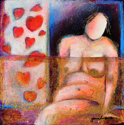 Seductive Mixed Media Framed Prints - Woman with Curves and Beautiful Framed Print by Johane Amirault