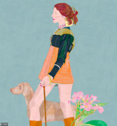 Frangipanis Prints - Woman with dog and frangipanis Print by Mario Sughi