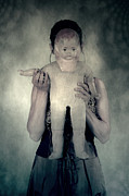 Creepy Metal Prints - Woman With Doll Metal Print by Joana Kruse