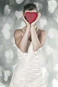 White Necklace Posters - Woman With Heart Poster by Joana Kruse