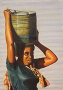 African Art Portrait Paintings - Woman With Lake Malawi Water by Nisty Wizy
