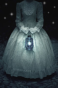 Dark Girl Posters - Woman With Lantern Poster by Joana Kruse