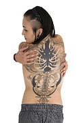 Rockers Framed Prints - Woman With Large Tattoo On Her Back Framed Print by Ilan Rosen
