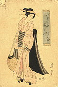 Ikeda Posters - Woman with Paper Lantern Poster by Padre Art