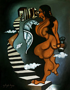 Night Angel Paintings - Woman With Paradoxical Binocular by Ashish Das