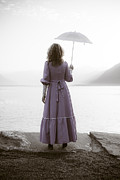 Lake Maggiore Posters - Woman With Parasol Poster by Joana Kruse