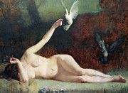 Unclothed Paintings - Woman with Pigeons by Ernst Philippe Zacharie 