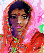 India Mixed Media Metal Prints - Woman with Red Bindi Indian Beauty Metal Print by Ginette Callaway