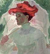 Lady With Red Umbrella Framed Prints - Woman with Red Hat and Parasol Framed Print by Frank Duveneck