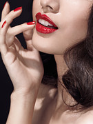Chin Up Photo Prints - Woman with red lipstick closeup of sensual mouth Print by Oleksiy Maksymenko