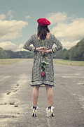 Woman In Hat Posters - Woman With Red Rose Poster by Joana Kruse
