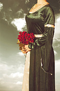 Beads Posters - Woman With Roses Poster by Joana Kruse