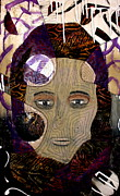 Portraits Tapestries - Textiles Metal Prints - Woman With Scarf Metal Print by Jude Ongley-Mowris