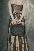Period Dress Prints - Woman With Suitcase Print by Joana Kruse