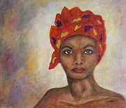 African-american Drawings - Woman with Tignon by Jane Landry  Read