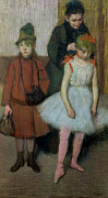 Standing Painting Framed Prints - Woman with Two Little Girls Framed Print by Edgar Degas