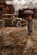 Stormy Night Prints - Woman with Umbrella by Vintage Car Print by Jill Battaglia