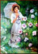 Italian White Poppy Paintings - Woman with umbrella by Giovanni Desimone