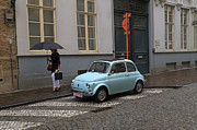 Fiat 500 Posters - Woman With Umbrella Poster by Louise Heusinkveld
