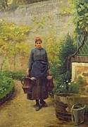 Watering Can Posters - Woman with Watering Cans Poster by L E Adan