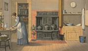 Pantry Prints - Woman Working In An Up-to-date Kitchen Print by Everett