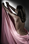 Despair Prints - Woman Wrapped in Pink Reaching the Light Print by Oleksiy Maksymenko