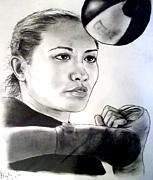 Fists Drawings - Womans Boxing Champion Filipino American Ana Julaton by Jim Fitzpatrick