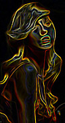 Profile Digital Art Prints - Womans Essence 23 Print by Byron Fli Walker